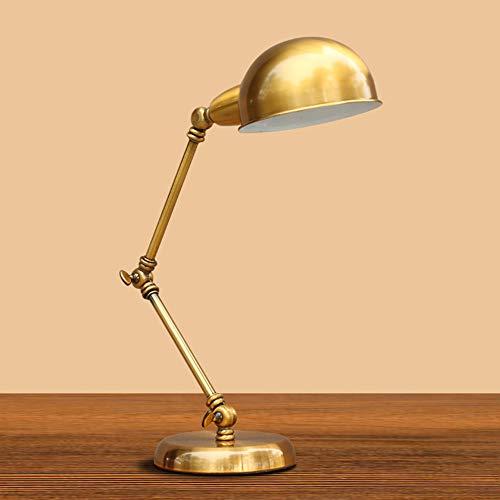 Lámpara de escritorio retro, balancín dorado de hierro forjado Maquinaria de brazo largo Lámpara de mesa plegable de estilo industrial con interruptor de botón para trabajar Loft Lectura Iluminación