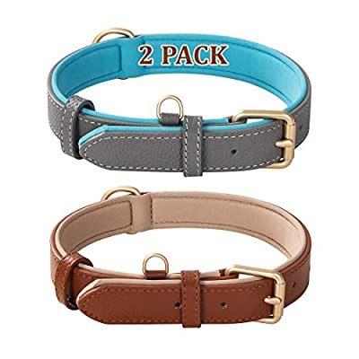 """Poohoo 2 Pack Genuine Leather Dog Collar Soft Waterproof Padded Heavy Duty Adjustable,for Small Medium Large Dogs Black Brown Red Orange Grey (L:1.0"""" Wide for 15.4""""-19.3"""" Neck,Brown and Gray)"""