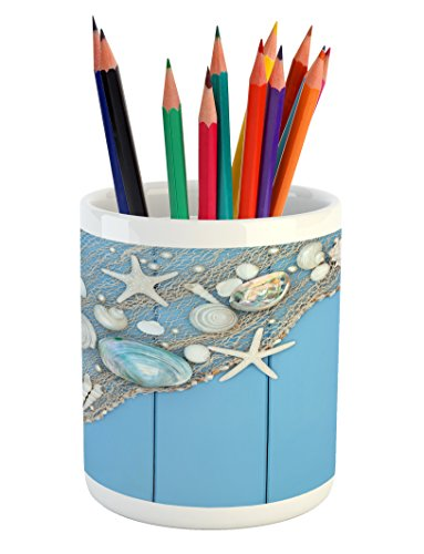 Lunarable Tropical Pencil Pen Holder, Seashells on a Fishing Net Wooden Blue Background Pearls Scallop Starfish Aquatic, Ceramic Pencil Holder for Desk Office Accessory, 3.6' X 3.2', White Blue