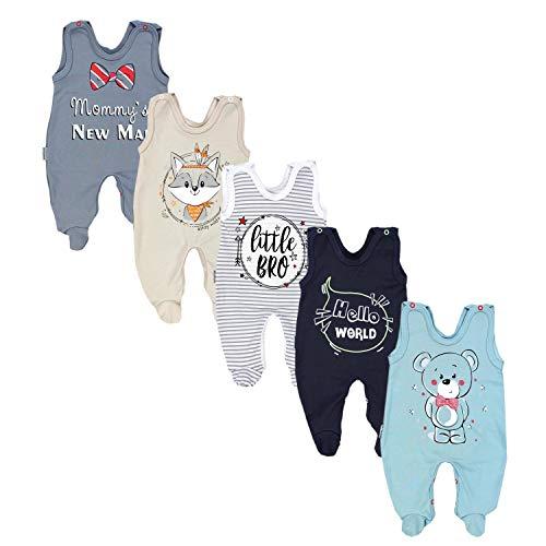 TupTam Baby Unisex Strampler mit Aufdruck Spruch 5er Pack, Farbe: Junge, Größe: 74