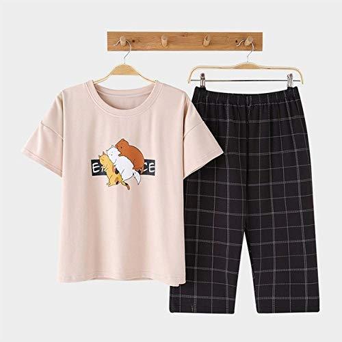 ZLAHY Pyjama's,Katoen Casual Dames Pyjama Sets Zomer Dieren Print Vogue Korte mouw Nachtkleding Sets Homepakken Nachtkleding voor dames, Nachtkleding, Bruin, XXL