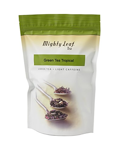 Mighty Leaf Loose Leaf Tropical Green Tea, 1 Pound Pouch Lightly Caffeinated Tropical Green Tea, Delicious as Hot or Iced, Plain or Sweetened w/ Honey or Sugar, Steep with Tea Infuser or Tea Ball