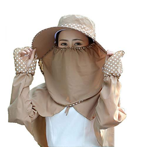 WGG Sombrero De Abrigo para El Sol para Mujer Sombrero Plegable De ala Grande Protección UV De 360 ° Cuello Facial Conjunto De Tres Piezas Gorra De Visera Mantón Al Aire Libre Sombreros para El Sol