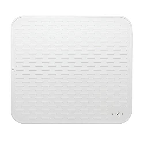 Luxet Multipurpose Premium Quality Silicone Dish Drying Mats for Kitchen Counter Dishes Pad Heat Resistant Countertop Protection Non Slip Grip Large Trivet Size 17x15 inches White
