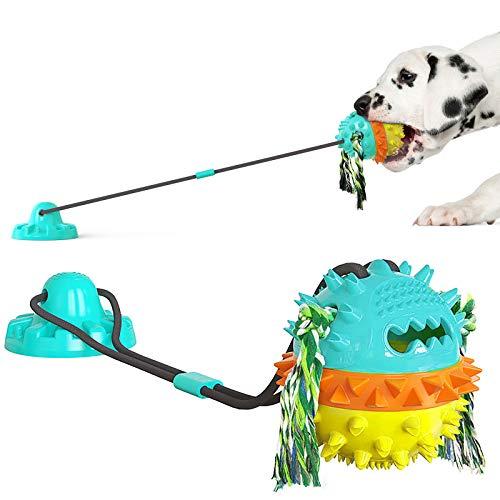 DSHZHM Juguete Interactivo para Perros con Ventosa, Juguetes para Perros Resistentes con Pelota, Juguete Masticable Molar para Perros,Limpieza de Dientes y Dispensador de Comida para Perros