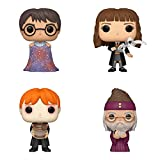 Funko Harry Potter: POP! Harry Potter Collectors Set - Harry with Invisibility Cloak, Hermione with Feather, Ron Puking Slugs, Dumbledore with Baby Harry