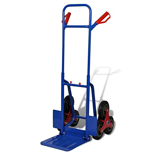 lyrlody- Carretilla profesional para escalera, con 6 ruedas, marco de acero y rueda de goma práctica para transporte de mercancías, color azul