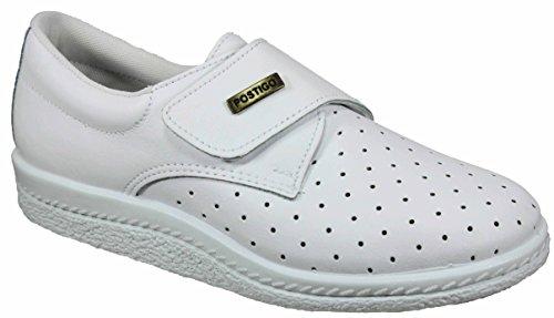Postigo 1 -Zapato Sanitario Anatómico Velcro Piel Unisex (37 EU, Blanco) ⭐