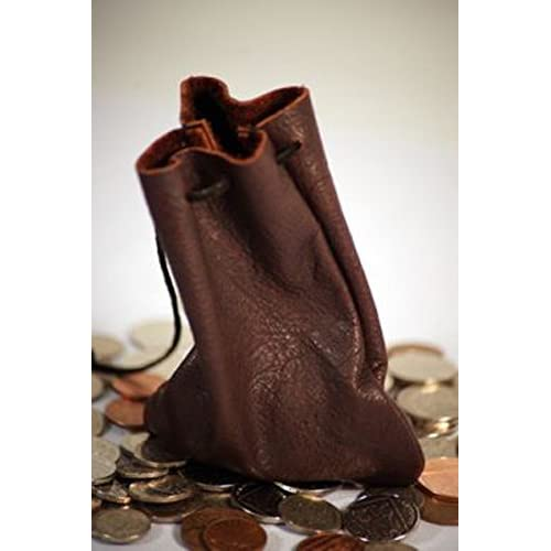 2b3c7dfaec Medieval-Larp-SCA-Pagan-Reenactment RICH CHOCOLATE BROWN LEATHER MEDIEVAL  MONEY POUCH