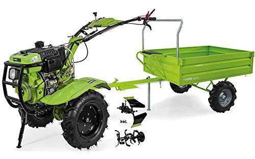 VITO Einachsschlepper mit Anhänger 12PS Diesel Set Motorhacke + Pflug + Bodenfräse- E-Starter Direktantrieb - 135cm Arbeitsbreite