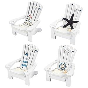 Juvale 4-Piece Mini Wooden Chair Ornament Beach Decor Nautical Decoration for Dollhouse Home Office Desk Bathroom…