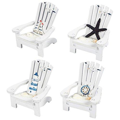 Juvale 4-Piece Mini Wooden Chair Ornament Beach Decor Nautical Decoration for Dollhouse Home Office Desk Bathroom Bedroom Decor, 4 x 3.75 x 3.75 inches