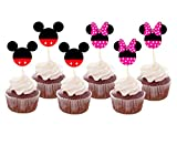 GCKAROTO Set of 24 Pieces Cute Mickey Minnie Mouse Cupcake Toppers Kids Birthday Party Cake Decoration Supplies