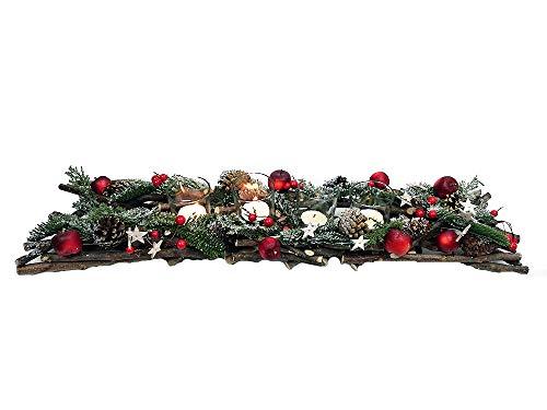 itsisa Großes Adventsgesteck grün/rot - Adventskranz, gemütliche Adventsdeko mit Äpfeln und Tannenzweige