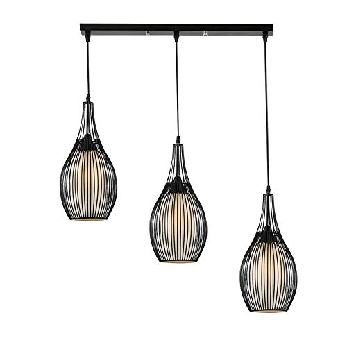 Pendelleuchten CARYS Hängeleuchte Vintage Pendelleuchte E27 Leuchtmittel Hängelampe Industrielle Runde Schwarz 3-flammig Retro Metall Wohnzimmer Schlafzimmer Esszimmer Küche (Size : 3-flammig)