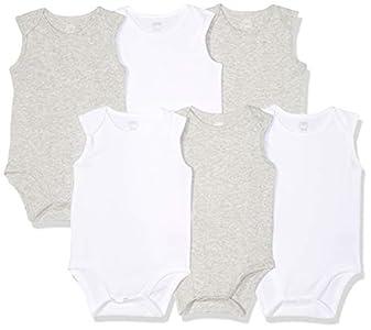 Amazon Essentials - Pack de 6 bodis sin mangas para bebé, Solid White & Heather Grey, Bebé prematuro
