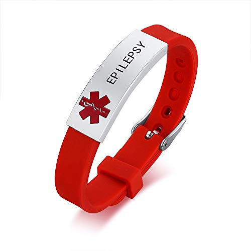 HEABY Medical Alert ID Bracelet Laser Engraved Epilepsy Adjustable Wristband for Men Women Emergency First Aid