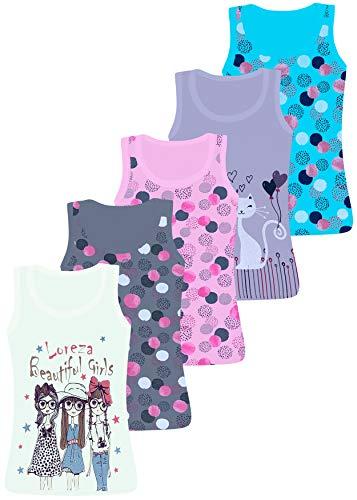 LOREZA ® 5 Camisetas de Tirantes Interiores para Niña (128-134, Modelo 5)