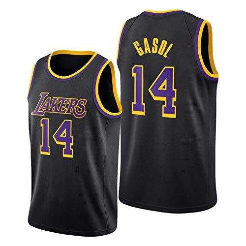 YPKL PAU Gasol Jersey, 2021 Nueva Temporada Black Mamba Lakers # 14 Camisetas de Baloncesto para Hombres, Camiseta Transpirable y cómoda (S-XXL) S