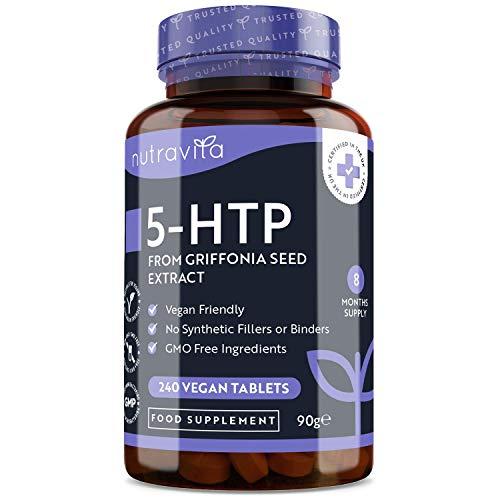 5htp 400 mg Végan - 8 mois d'approvisionnement - 240 comprimés végétaliens - 5HTP Puissant extrait de Graines de Griffonia Naturelles - Fabriqué au Royaume-Uni par Nutravita