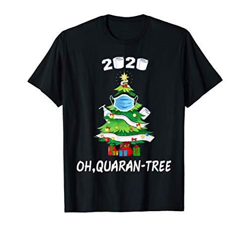 2020 Funny Quarantine Christmas Tree Ornament Mask Gift men T-Shirt