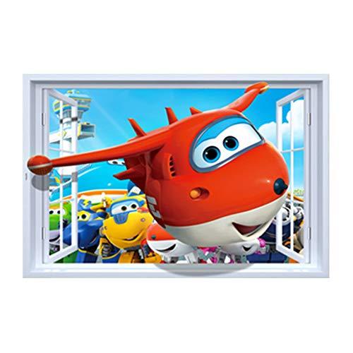 stickerzb Wandtattoo, 3D Fenster Ansicht Super Wings Jett Aufkleber Dekor Poster Wandbild Abnehmbar 90x60cm
