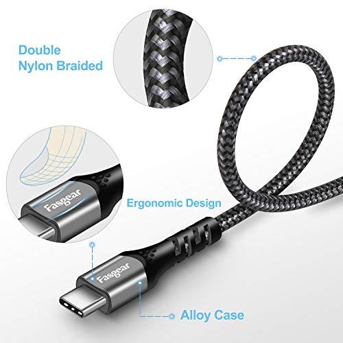 Fasgear USB C zu Typ C Kabel, USB 3.1 Typ C Gen 2 Schnellladekabel, 100W 20 V/5 A Stromversorgung, 10 Gbit/s Datenübertragung, 4K@60 Hz Videoausgang, kompatibel für Typ C-Geräte (1m, schwarz)