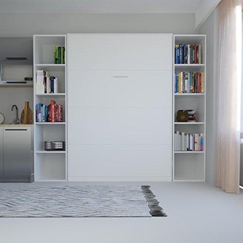 SMARTBett Basic 140×200 Vertikal Weiss Schrankbett   ausklappbares Wandbett, ideal geeignet als Wandklappbett fürs Gästezimmer, Büro, Wohnzimmer, Schlafzimmer - 3