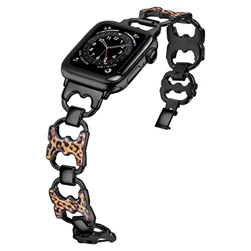 JFdragon Compatible with Apple Watch Band 38mm 40mm 42mm 44mm with Case, Women Jewelry Bracelet Replacement Metal Strap for iWatch SE/Series 6/5/4/3/2/1(Black+Leopard,42mm/44mm)