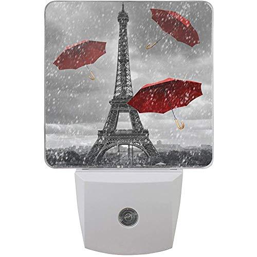 L-e-d Nachtlicht Paris Eiffelturm Roter Regenschirm,Auto Senor Dämmerung bis Morgendämmerung Nachtlicht Plug-in für Kinder Baby Mädchen Jungen Erwachsenenzimmer