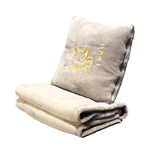 LF- Cojín de forro polar coral para oficina, almuerzo, sofá, aire acondicionado, respaldo (color: blanco, tamaño: B-M)