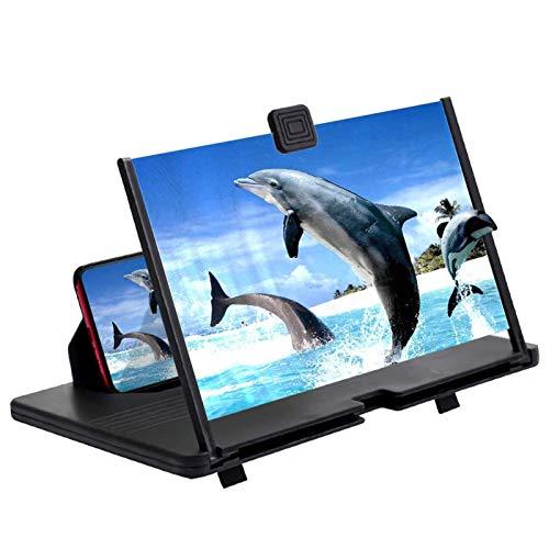 ZHSONG 12'Telefonbildschirmlupe, 3D-Ultra-Clear-Handyverstärker, Bildschirmvergrößerung, ausziehbarer und Faltbarer Telefonhalter, Strahlenschutz Augenschutz unterstützt alle Smartphones