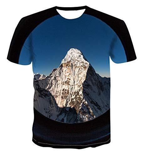YAMAO Camisetas Cuello Redondo, Manga Corta, Mountain Peak Imprimir Moda Casual Camiseta de Hombre de Manga Corta Suelta