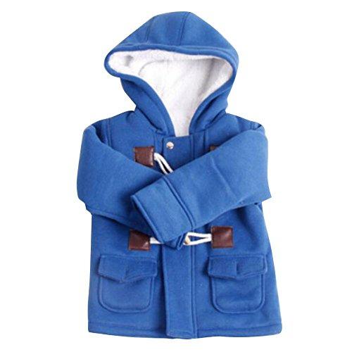 Mantel mit Kapuze für kinder Baby Jungen Horn-Tasten Lang Dufflecoat Winter Baumwolle Warm Outerwear Jacke Blau / 130
