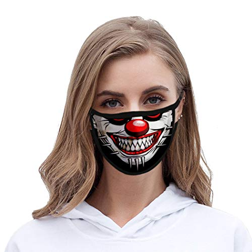 Funyrich Funny Joker Face Mask Black 3D Grinning Printed Fabric Face Cover Reusable Clowns Costume Face Masks Decoration for Women and Men
