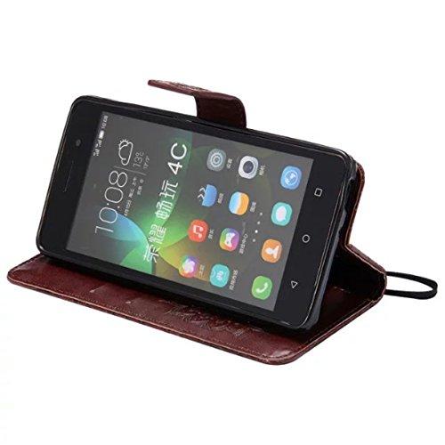 Gift_Source Honor 4C Hülle, Huawei G Play Mini Hülle, [Braun] PU Leder Brieftasche Schutzhülle Lederhülle Tasche Hülle mit Standfunktion Flip case Handyhülle für Huawei Honor 4C/Huawei G Play Mini - 5