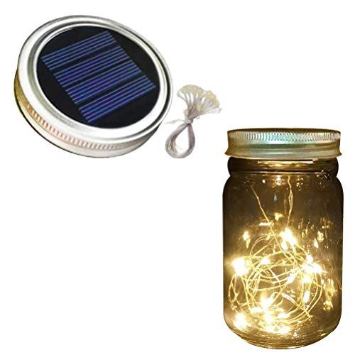 Lshan Solar Einmachglas Gartenbeleuchtung Ip65 wasserdichte Garten Lichterkette Hängende Gartenlaterne Im Freien Für Garten, Hochzeit, Partydekorationen (ohne Glas)