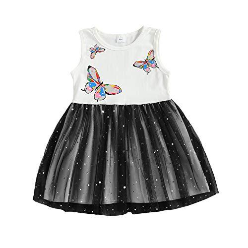 ZZLBUF Vestido de verano para niños con estampado floral de tul y falda sin mangas