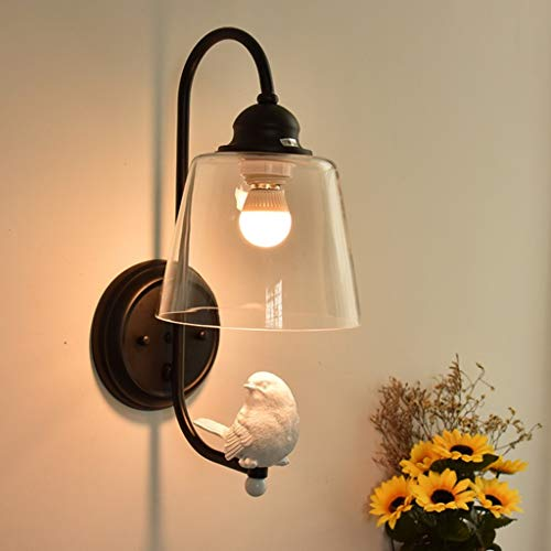 UWY lámpara de Pared Lámpara de Pared LED para Sala de Estar, Lámpara de Pared de Vidrio Retro para Pasillo, Lámpara de Pared Creative Bird (Negro/Blanco), E27 (con Bombilla A + (Color: Negro