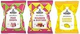Bonds Of London Assortment of 3 best flavors 5.3 Ounce Each (Pear Drops, Rhubarb& Custard, Sherbet Lemon)