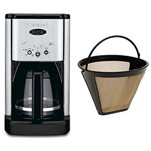 Cuisinart DCC-1200 Brew Central 12-Cup Programmable Coffeemaker, Brushed Chrome, and Filter Bundle
