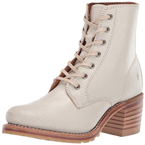 Frye Women's Sabrina 6G Lace Up Combat Boot, Off-White, 7