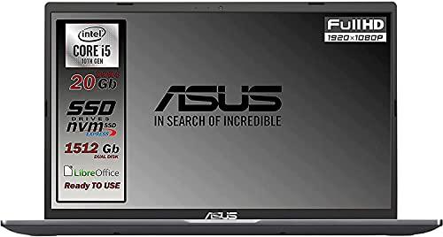 Asus Vivobook SLIM, SSD M.2 da 512 Gb + 1TB, Cpu Intel i5 di 10th GEN. 4 Core, 20Gb DDR4, Display da 15,6 FULL HD, wi-fi, 4 Usb, Bt, Sk Video Intel UHd 620, Win 10 pro, Pronto All'uso Gar. Italia