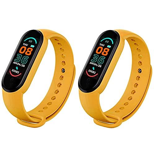 LKJHGFD RUNSHIBAIHUODIAN 2pcs Smart Bracelet Watch Fitness Tracker Sport Smartband Monitor Muñequera Menores Hombres Mujeres Smart Band (Color : Yellow Yellow)