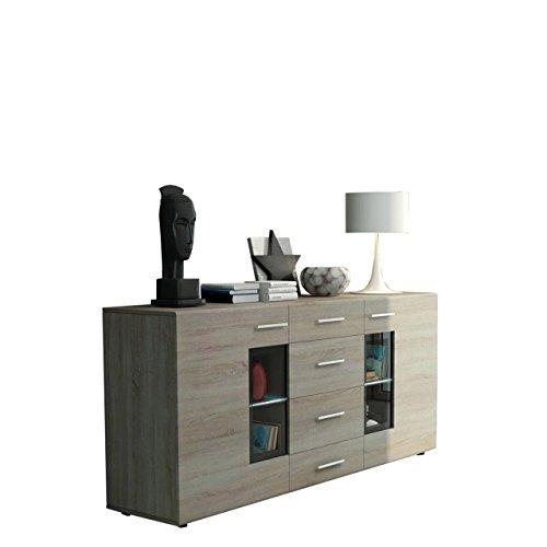 Mirjan24 Kommode Twist Anrichte Highboard Sideboard Schrank Naturtöne Mehrzweckschrank Wohnzimmerschrank, Anrichte (ohne Beleuchtung, Sonoma Eiche)