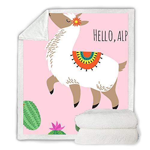 FDCSYP deken, beddengoed zachte tweepersoonsbed gooien dekens, dier schattig Alpaca 3D digitale afdrukken reizen warme quilt, Queen Size Winter Sheet sprei, voor bed bank pluche deken 150×130cm