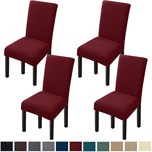 GoodtoU Chair Covers for Dining Room Chair Covers Dining Chair Covers (Set of 4, Wine Red)