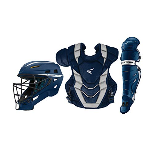 EASTON PRO X Baseball Catchers Equipment Box Set | Adult | Navy | 2020 | Large Helmet | 17 in Chest Protector + Commotio Cordis Foam | 16.5 in Leg Guards | NOCSAE Approved For All Levels of Play