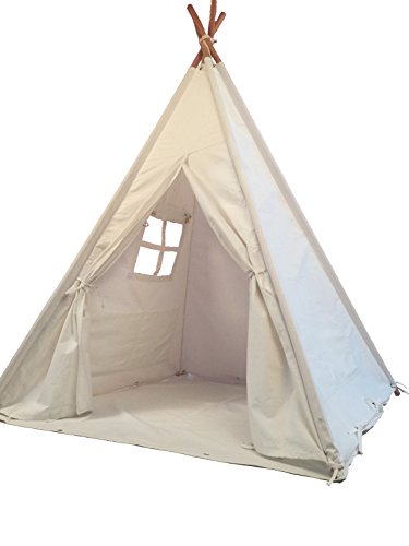 Pericross Kids Teepee Tent Indian Play Tent Children's Playhouse for Outdoor and Indoor Play (4 Panel Grey Stripes with Bottom)