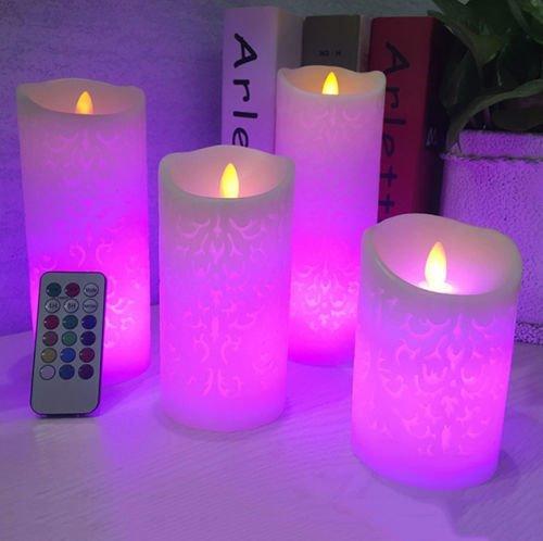 Paracity sans flamme Bougie électronique coloré Bougies LED Intérieur et d'extérieur à piles LED bougies avec télécommande et minuteur, 8x22cm
